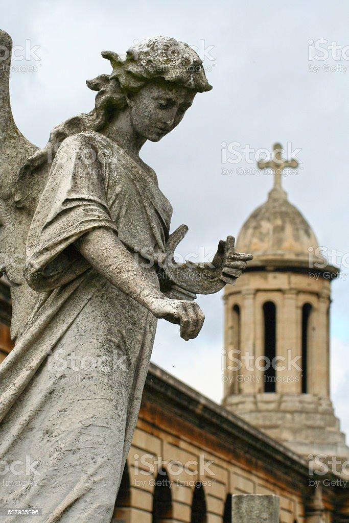 Stone angel in Brompton Cemetery stock photo