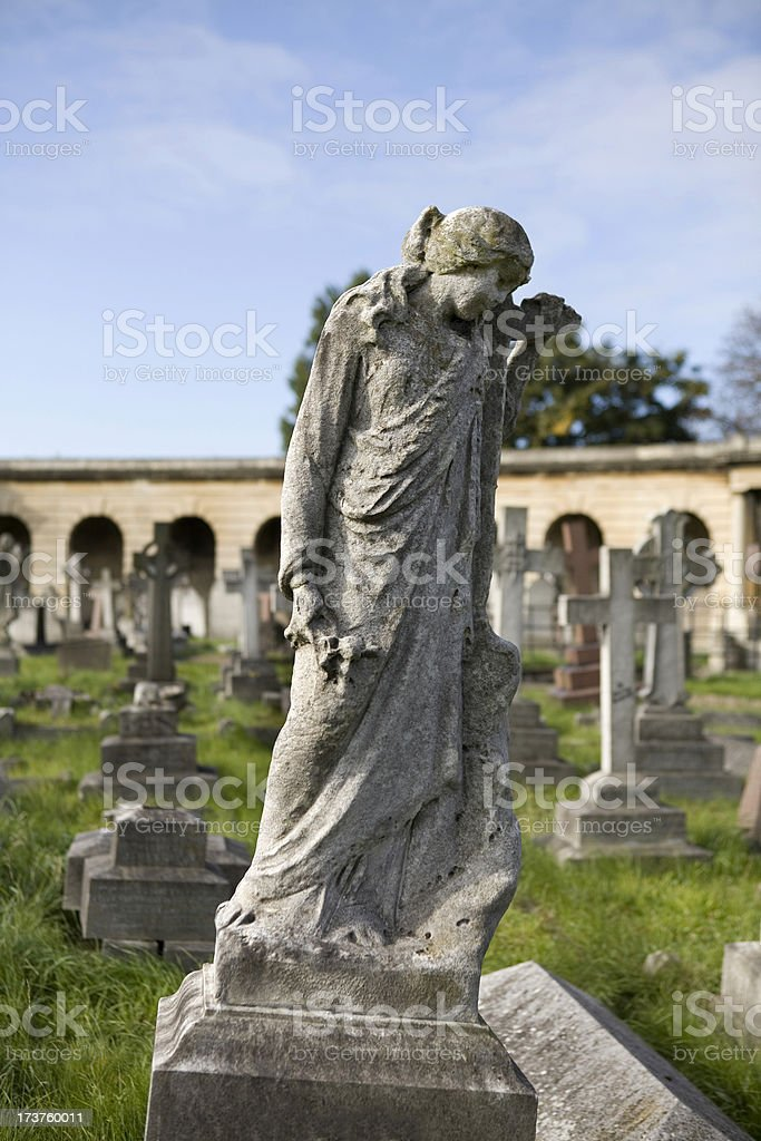 Stone Angel in old Cemetery London stock photo