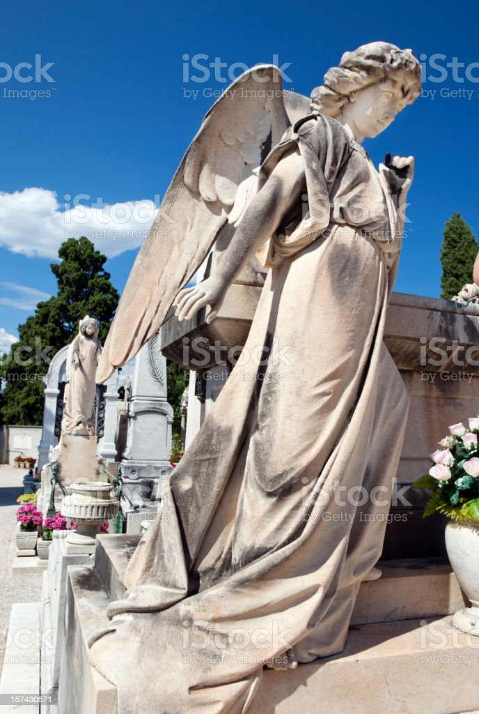 Stone Angel on Grave in Provence royalty-free stock photo