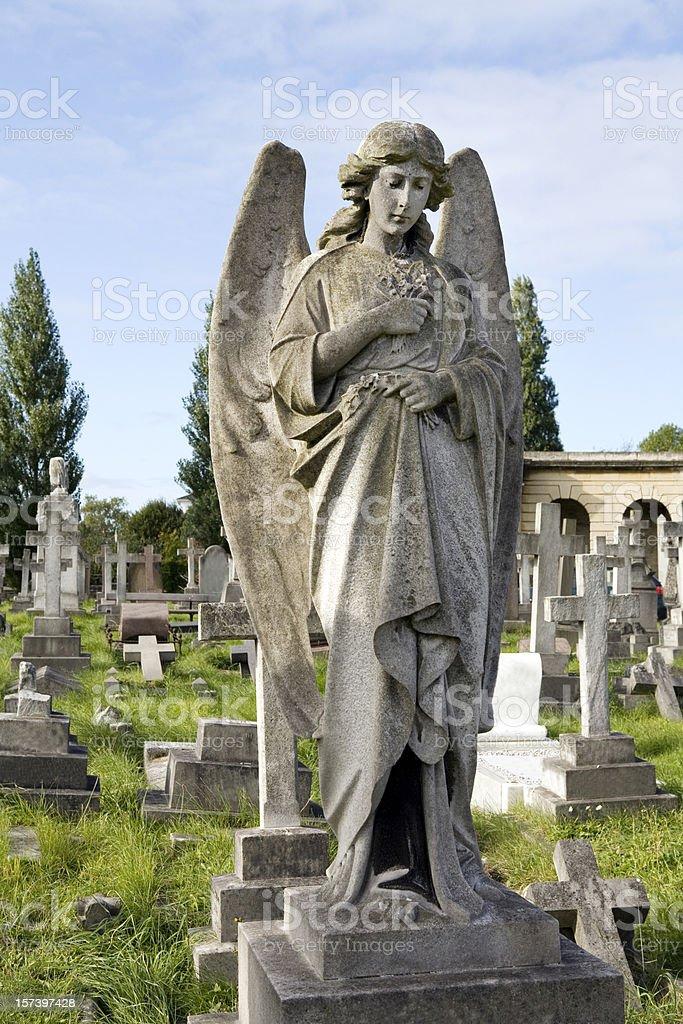 Stone Angel on Grave stock photo