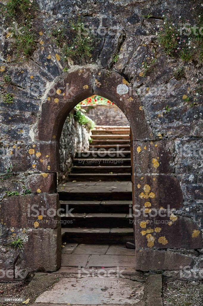 Stone arch and steps stock photo