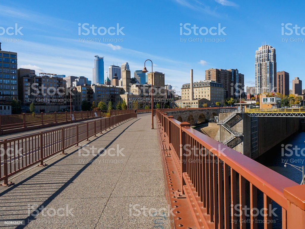 Stone Arch Bridge and Flour Mill Ruins stock photo