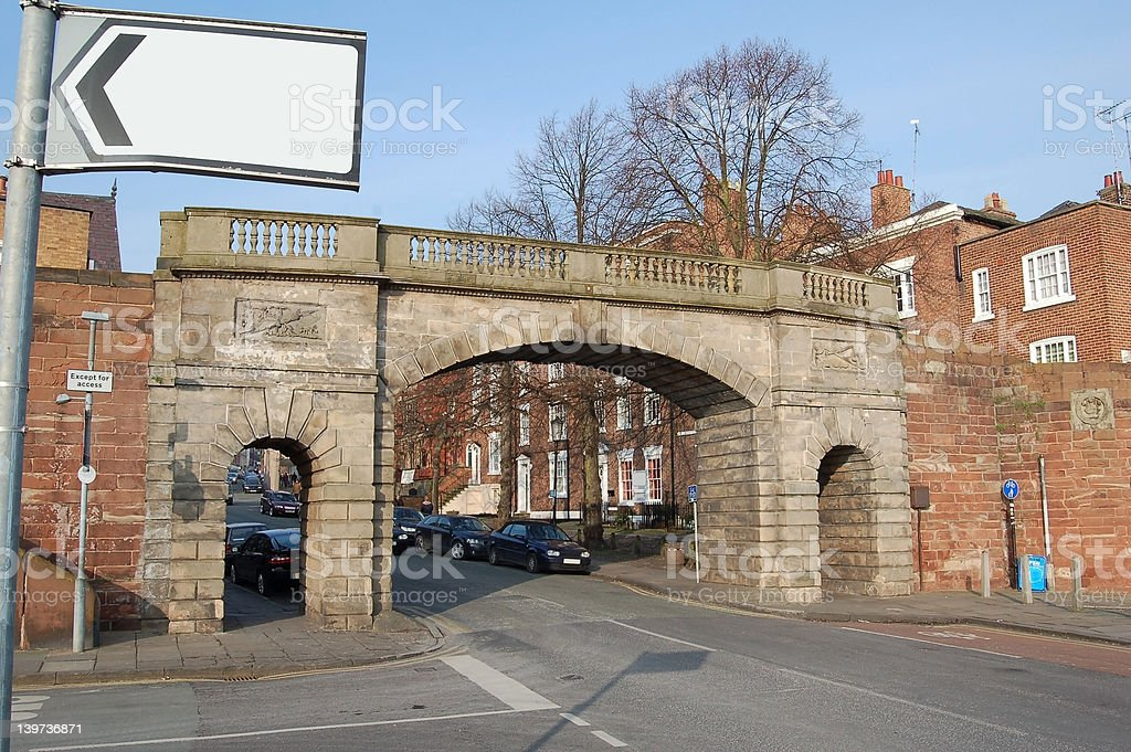 Stone Arch Bridge In A Roman Wall royalty-free stock photo