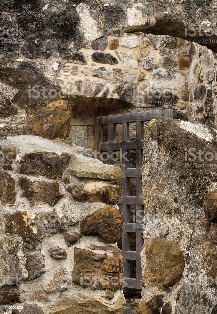 Stone Arch Gate Entrance Hispanic Mission stock photo
