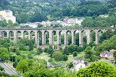 Stone arch railway bridge and green landscape.