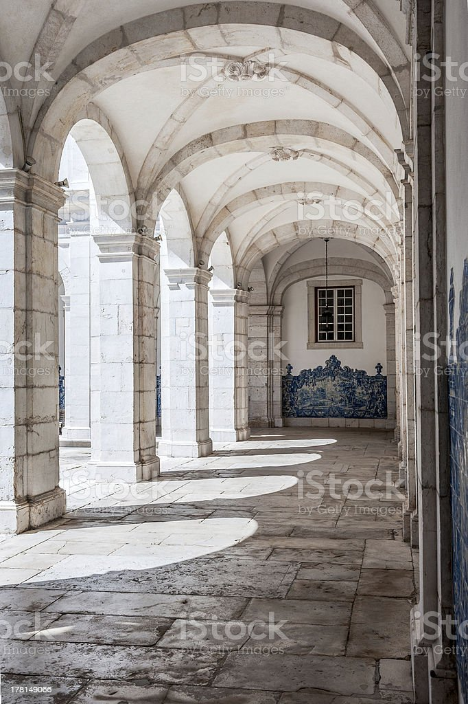 Stone arches in Monastery of St. Vincent royalty-free stock photo