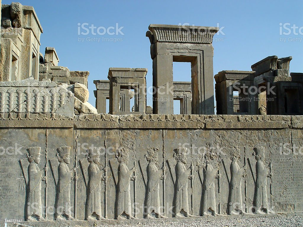 Stone architecture and carved image at Persepolis stock photo