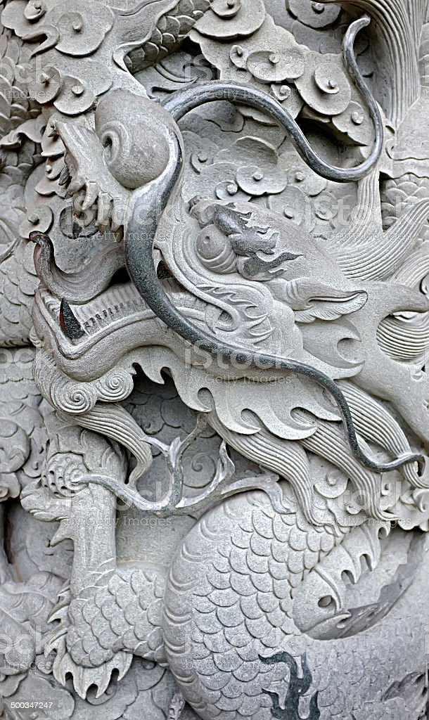 Stone Asian dragon stock photo