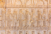 Stone bas-relief in ancient city Persepolis, Iran.