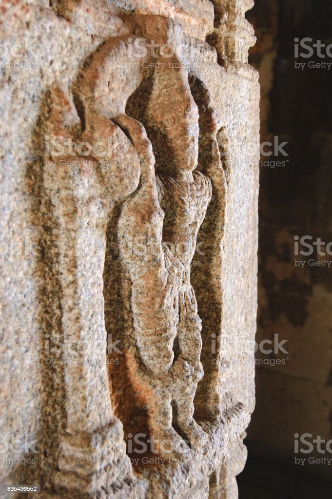 Stone bas-relief of the hindu temple, Hampi, India stock photo
