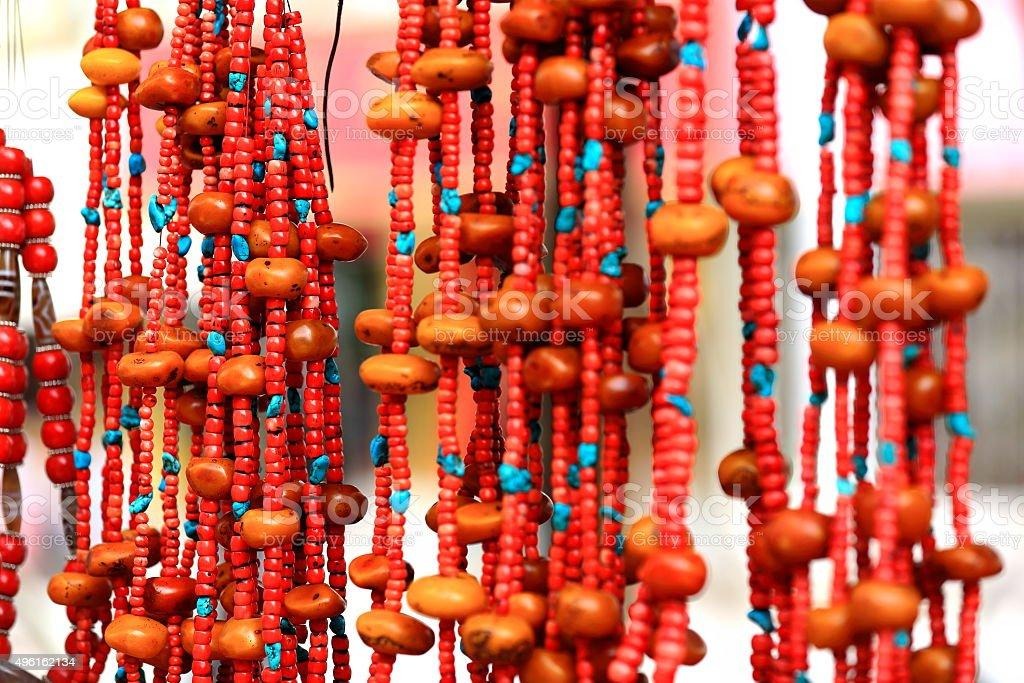 Stone bead necklaces. Shigatse-Tibet. 1785 stock photo