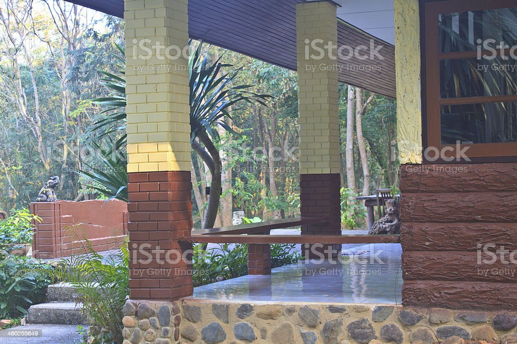 stone bench outside office stock photo