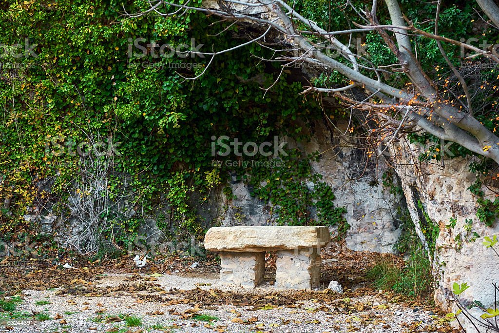 Stone bench stock photo