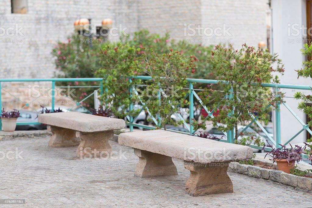 Stone benches. stock photo