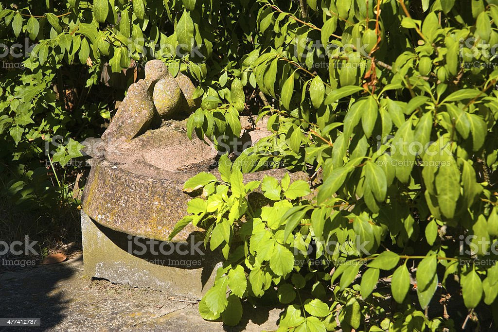 stone bird in the garden stock photo