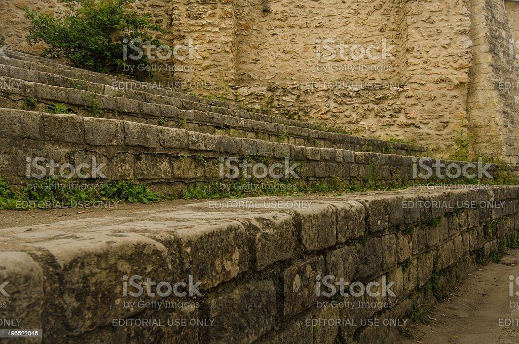 Stone bleachers at Arenes de Lutece in Paris stock photo