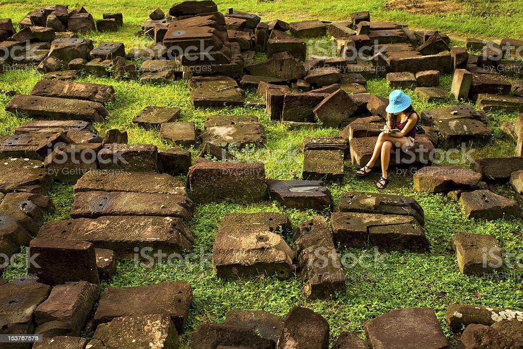 stone blocks at Angkor royalty-free stock photo