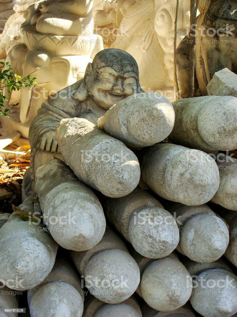 Stone blocks for carving at the workshop, Mandalay, Myanmar. stock photo