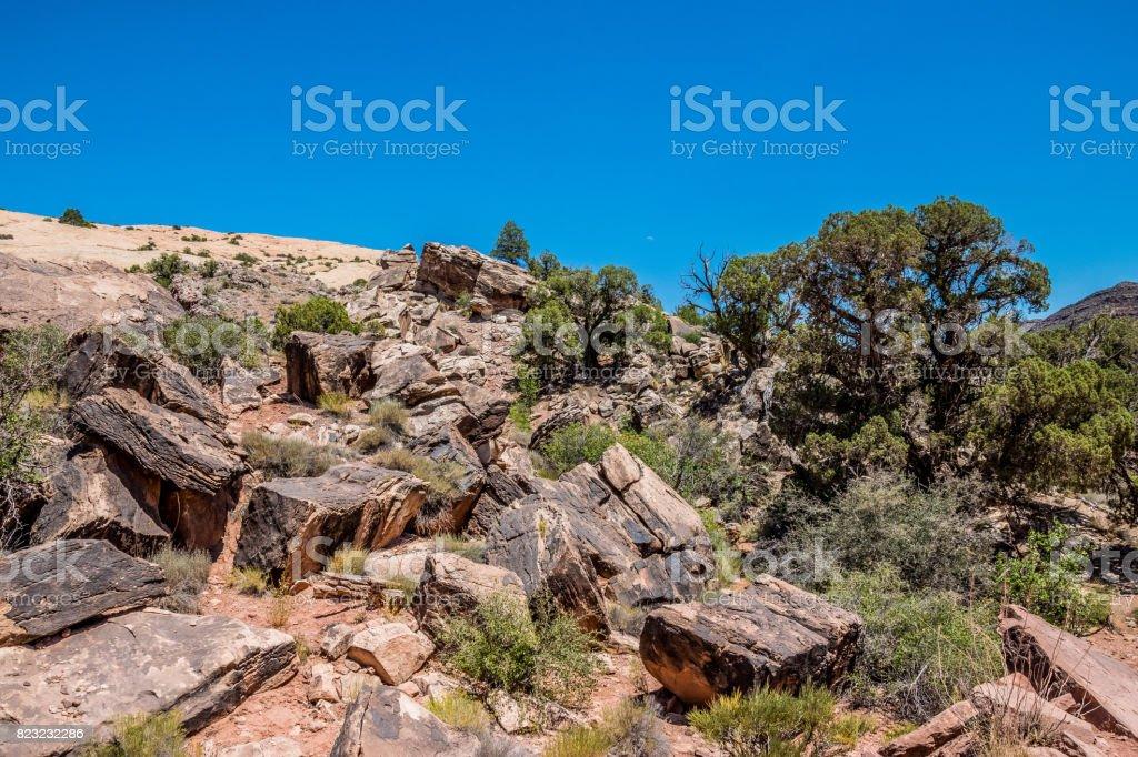 Stone blocks in the Moab Desert, Utah, USA stock photo