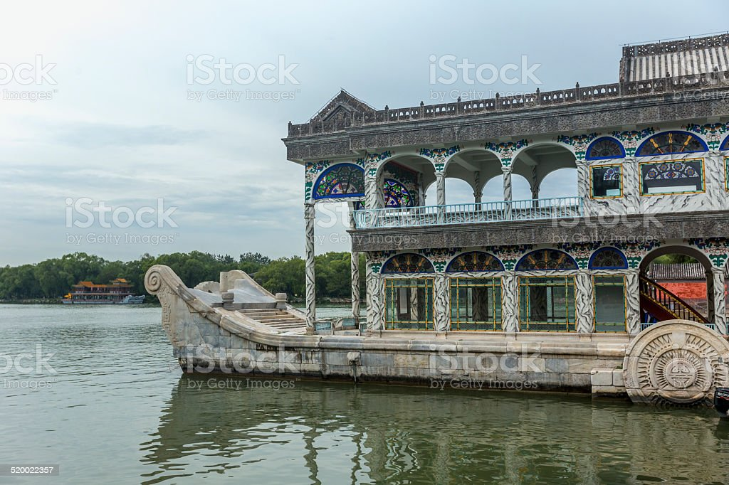 Stone boat at Summer Palace of Beijing stock photo