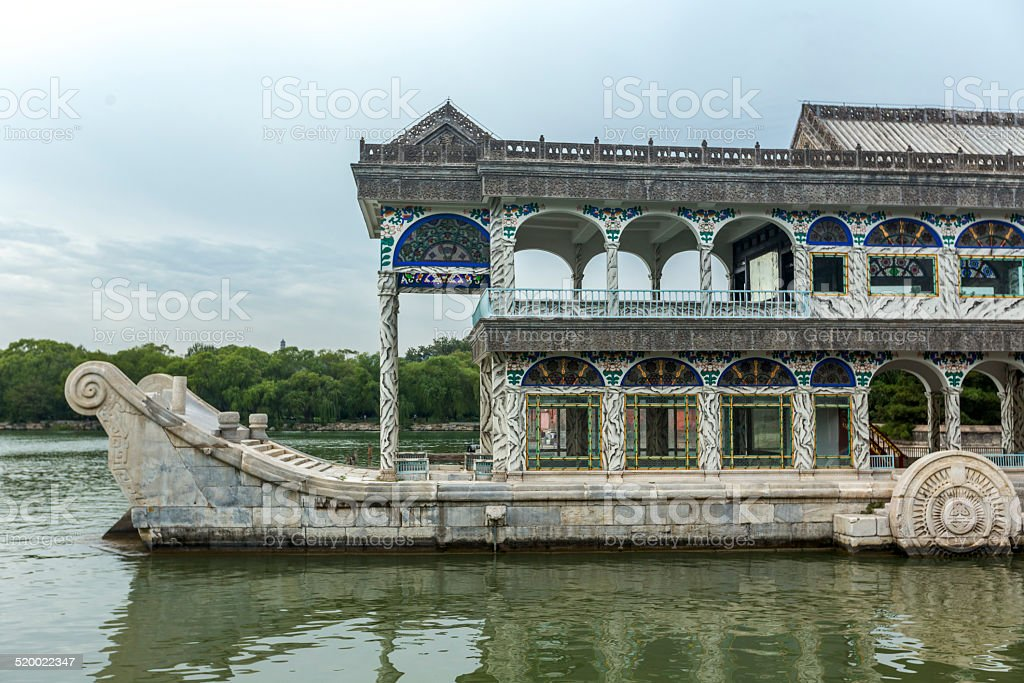 Stone boat in Summer Palace of Beijing stock photo