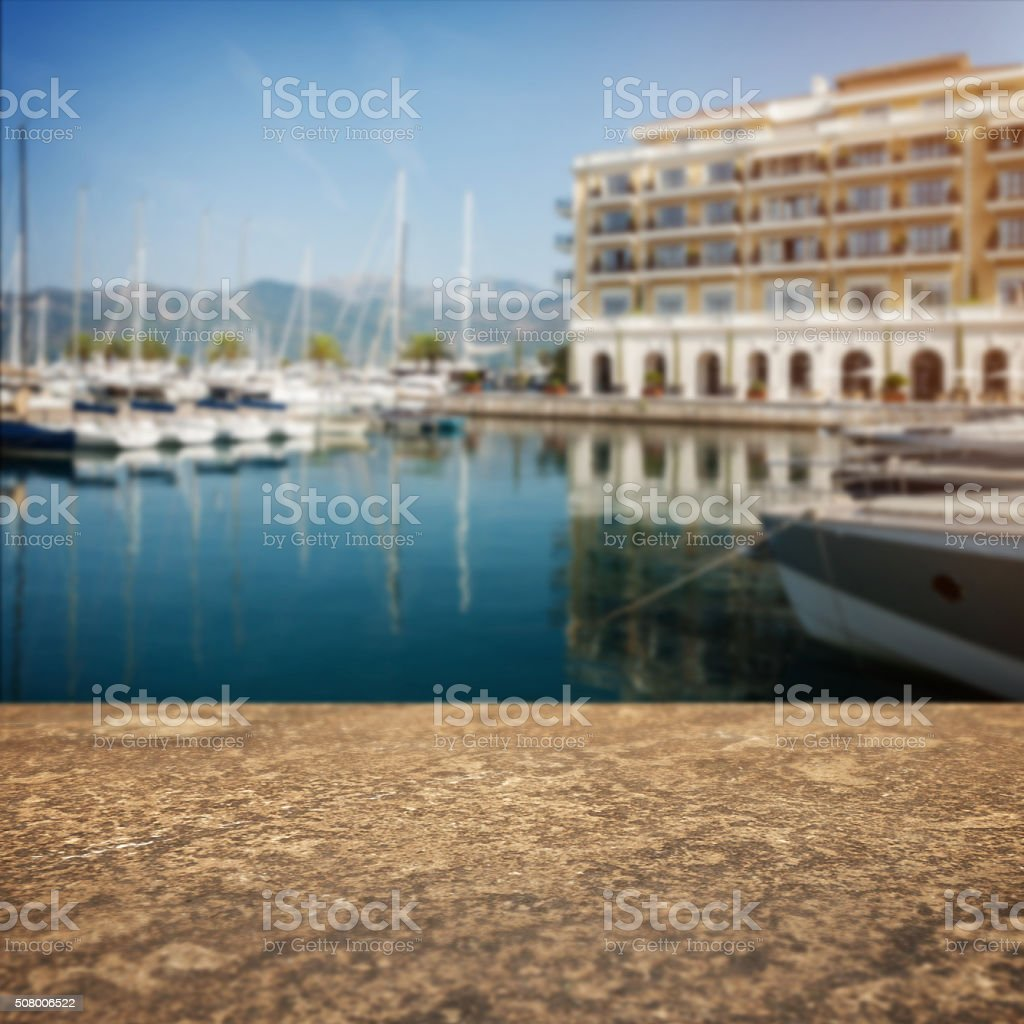 Stone border and defocused pier at luxury hotel stock photo