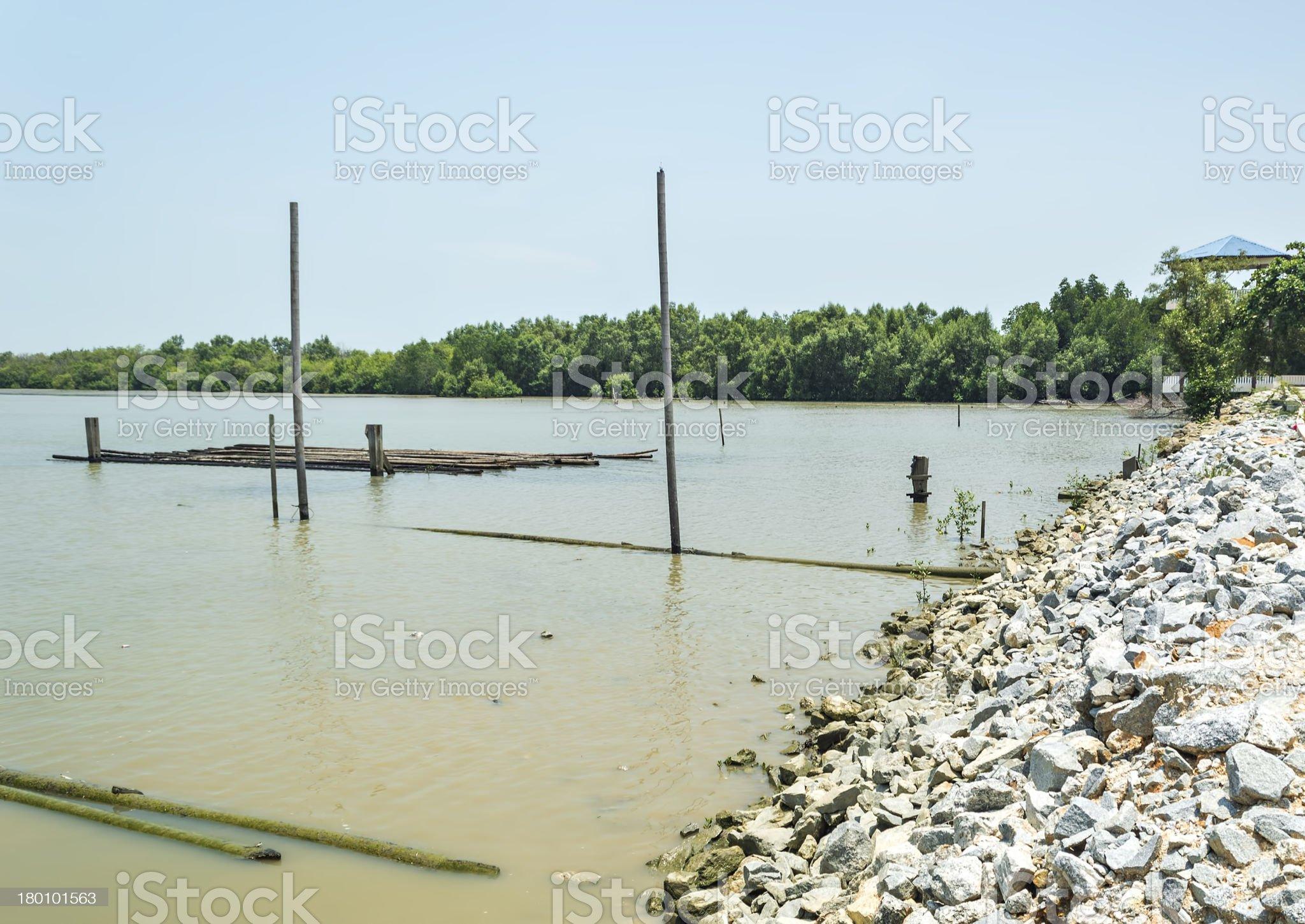 Stone breakwater royalty-free stock photo