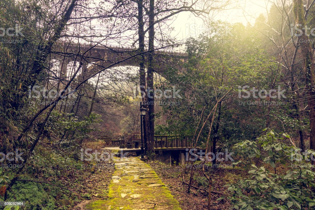 Stone bridge above the gorge in Huangshan National park. stock photo