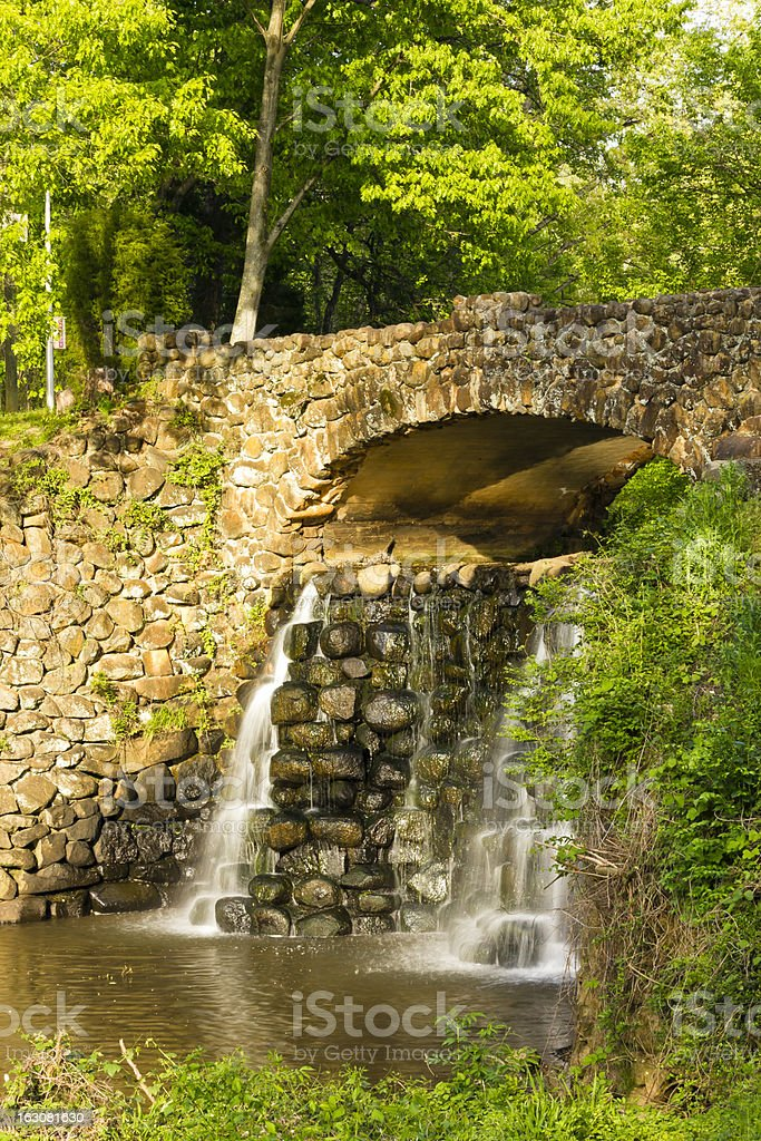 Stone Bridge and Waterfall in Reynolda Gardens royalty-free stock photo
