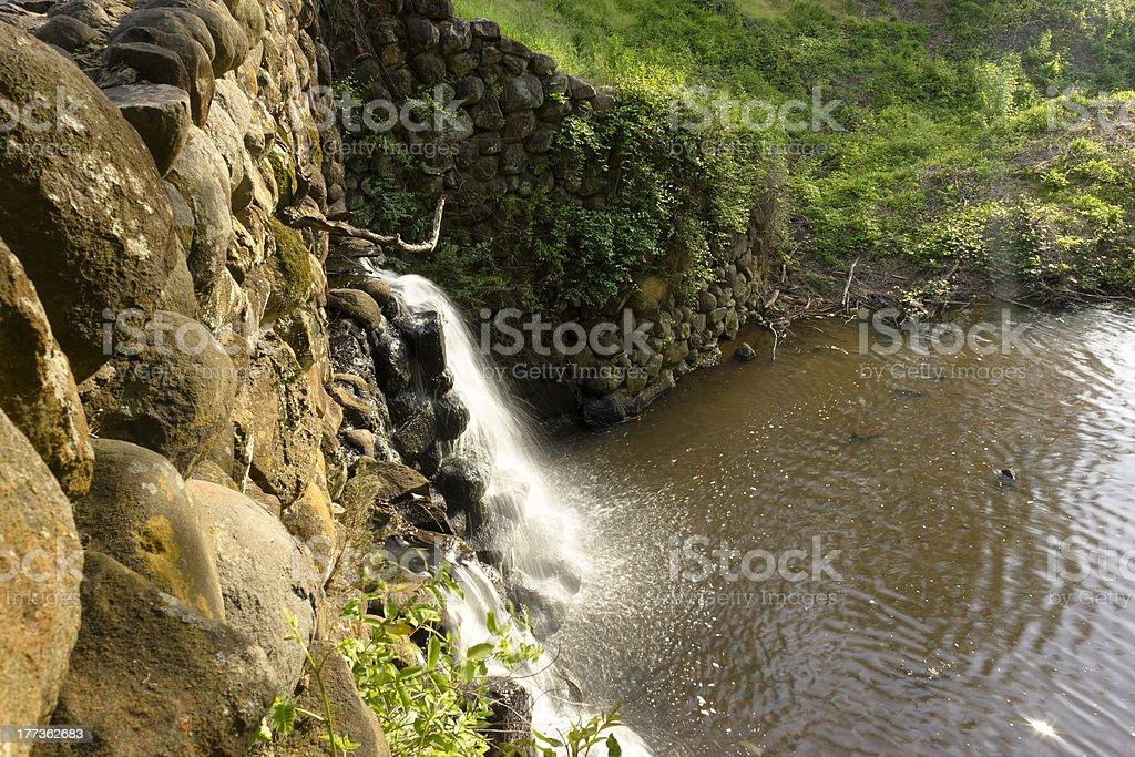 Stone Bridge and Waterfall in Reynolda Gardens royalty-free stock photo