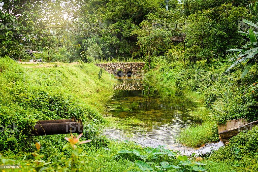 Stone bridge and waterway stock photo