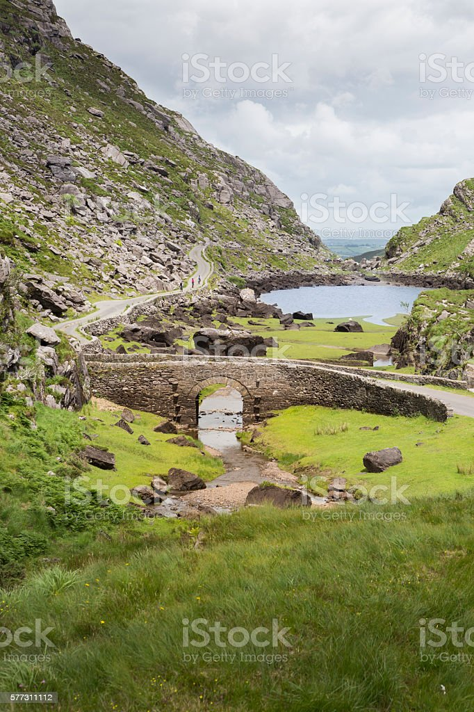 Stone bridge at Gap of Dunloe, Killarney National Park, Ireland stock photo