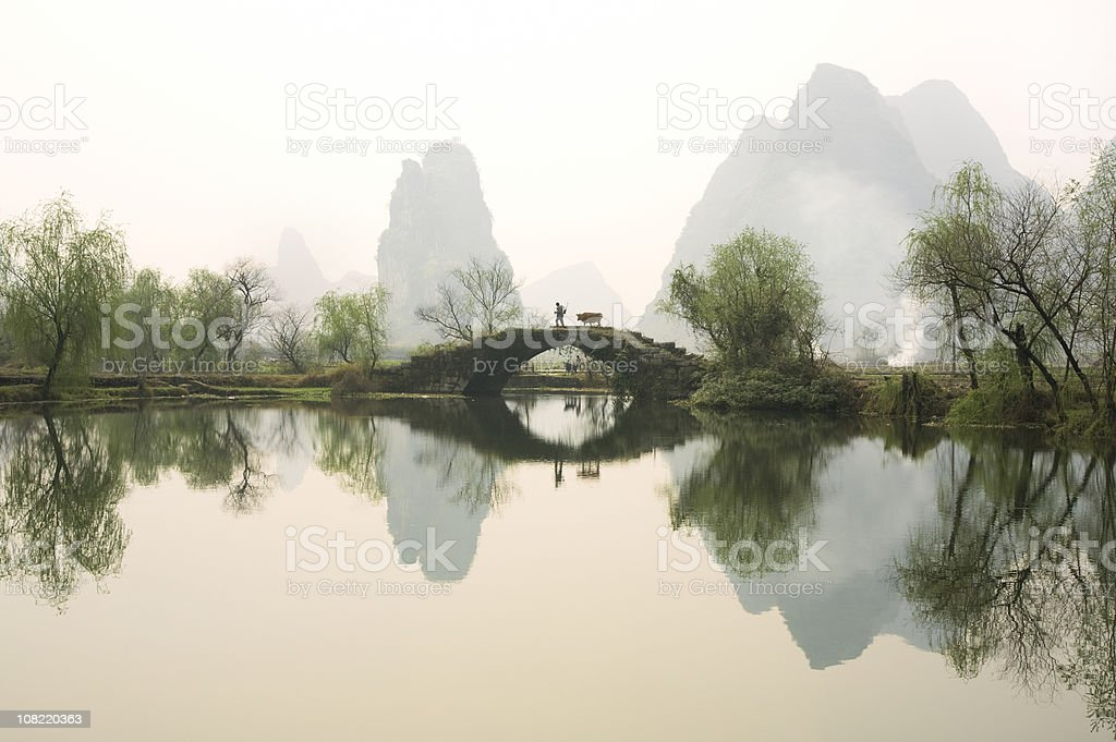 Stone Bridge in Guangxi Province, China royalty-free stock photo