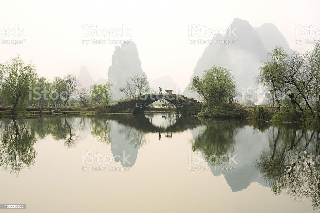Stone Bridge in Guangxi Province, China stock photo