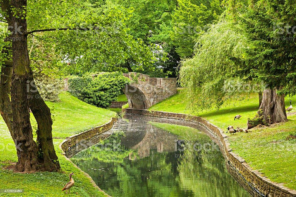 Stone Bridge in Parc de la Boverie in Liege stock photo