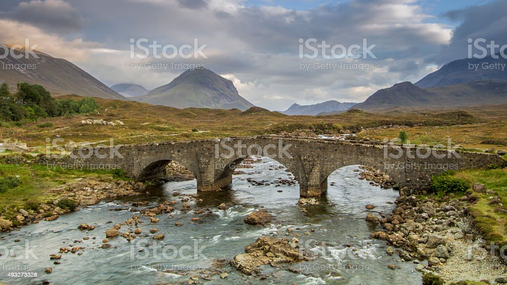 Stone bridge near Sligachan, Isle of Skye stock photo