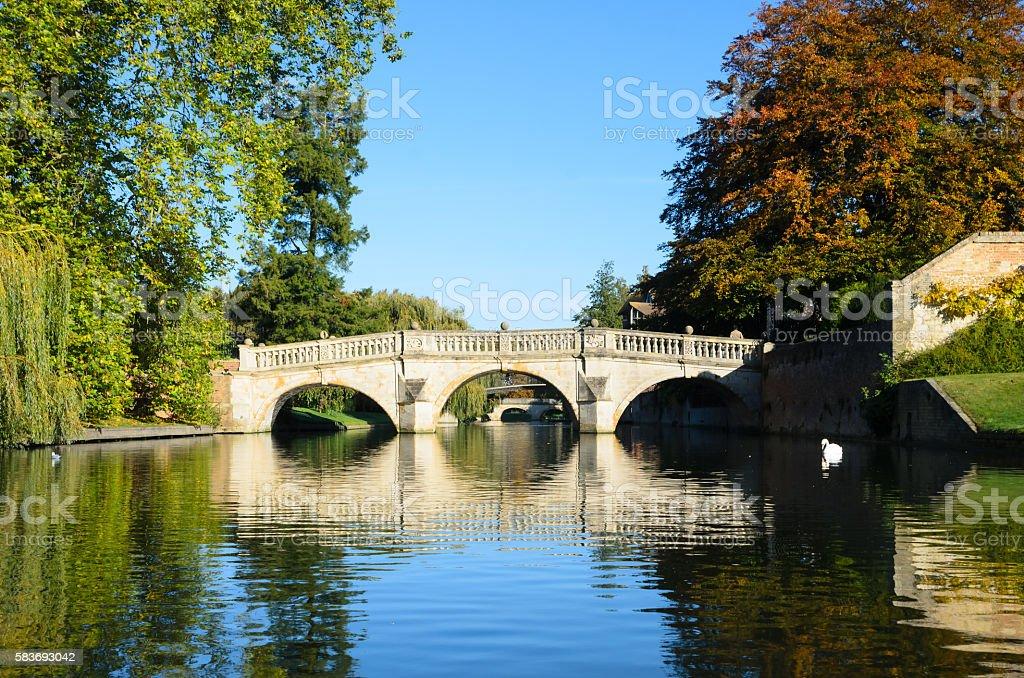 Stone bridge over Cam river in Cambridge stock photo