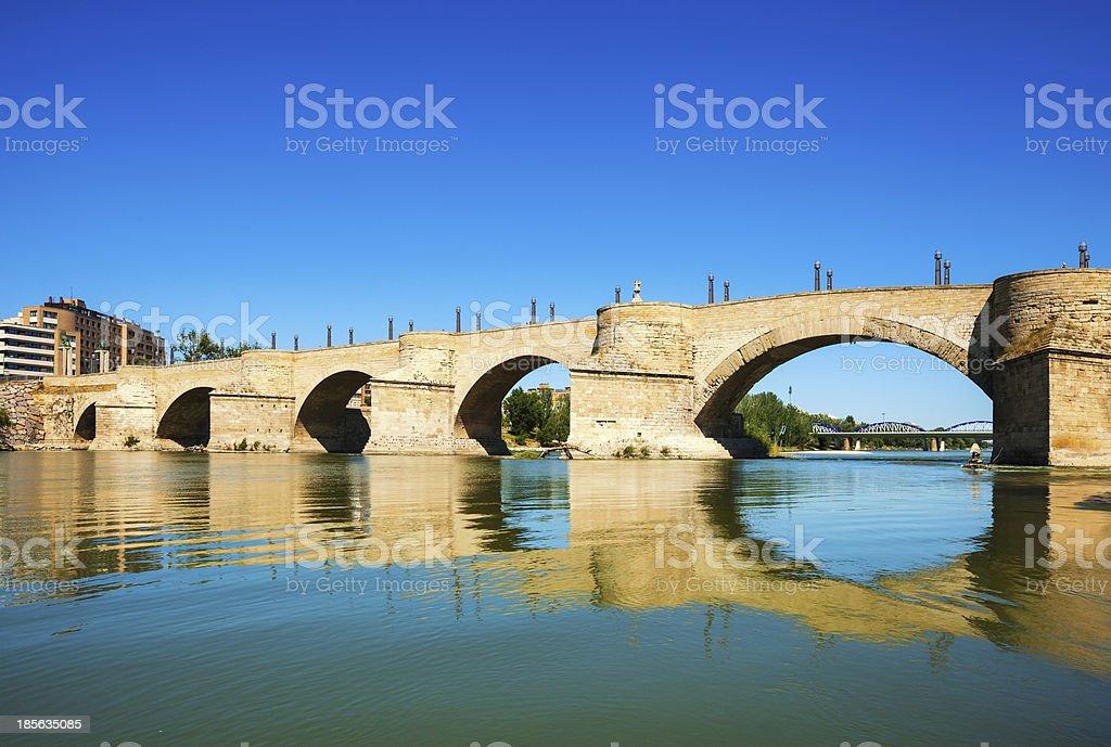 Stone Bridge over Ebro  in Zaragoza royalty-free stock photo