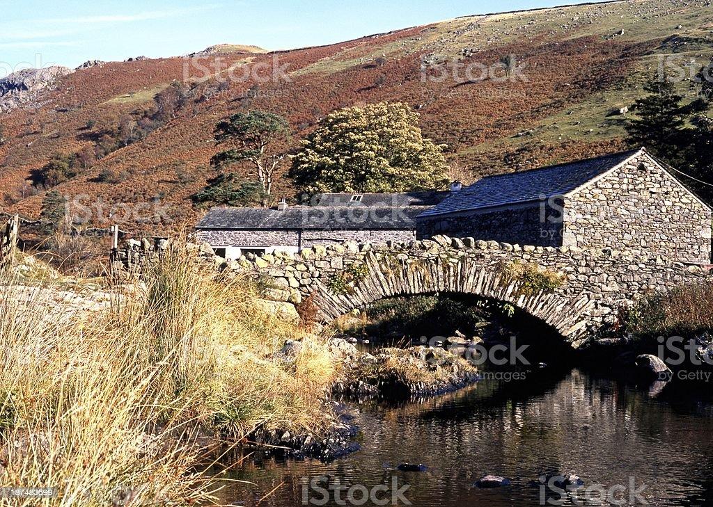 Stone bridge over stream, Watendlath, Yorkshire. stock photo