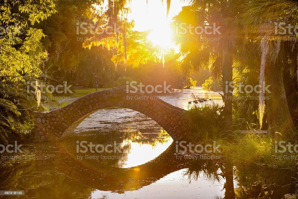 Stone Bridge Over Swamp, City Park New Orleans stock photo