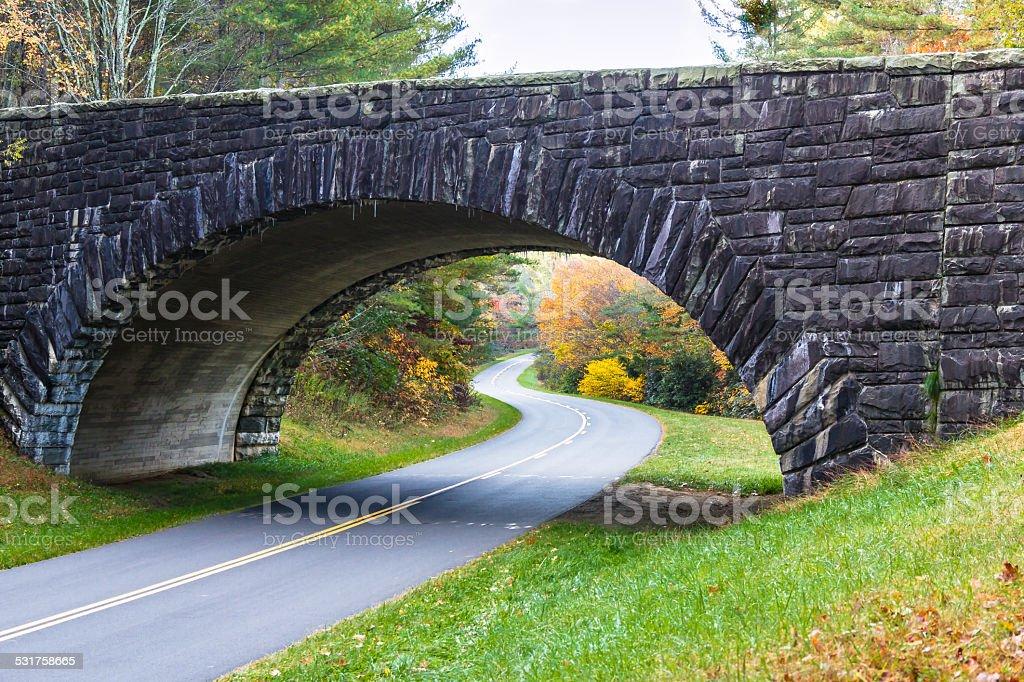 Stone Bridge over the Blue Ridge Parkway stock photo