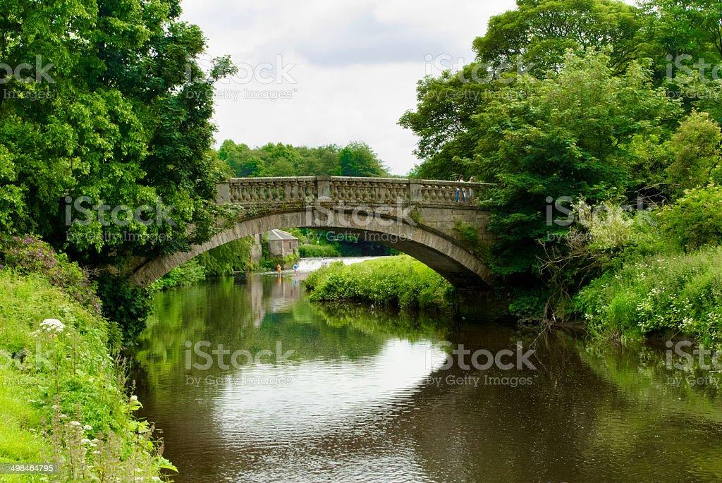 Stone bridge over the White Cart Water in Pollok Park stock photo