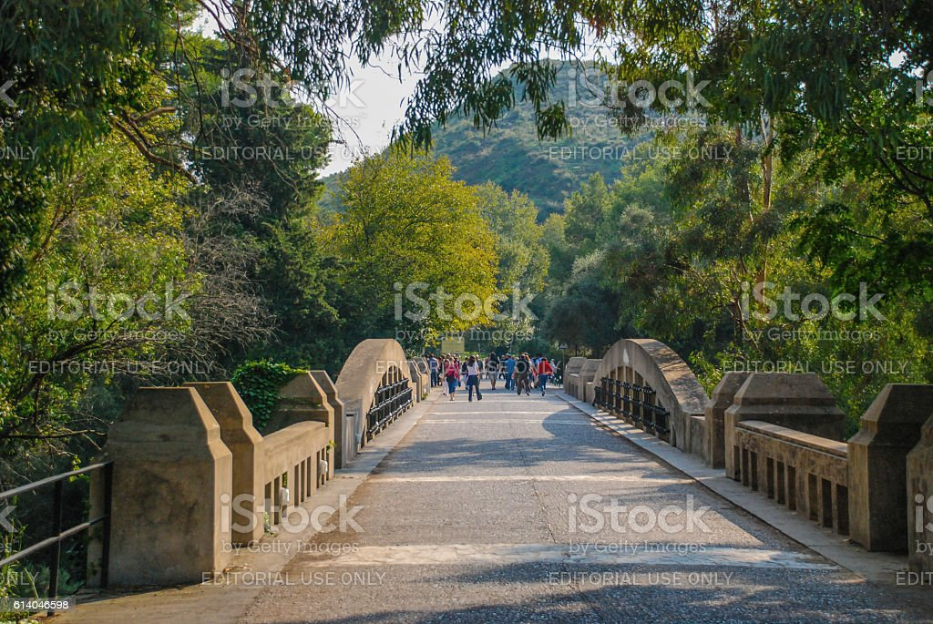 Stone bridge that leads to the Ancient Olympia stock photo