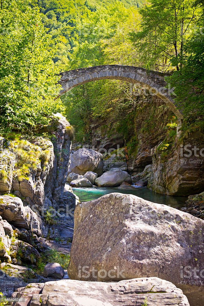 Stone Bridge, Ticino, Switzerland stock photo