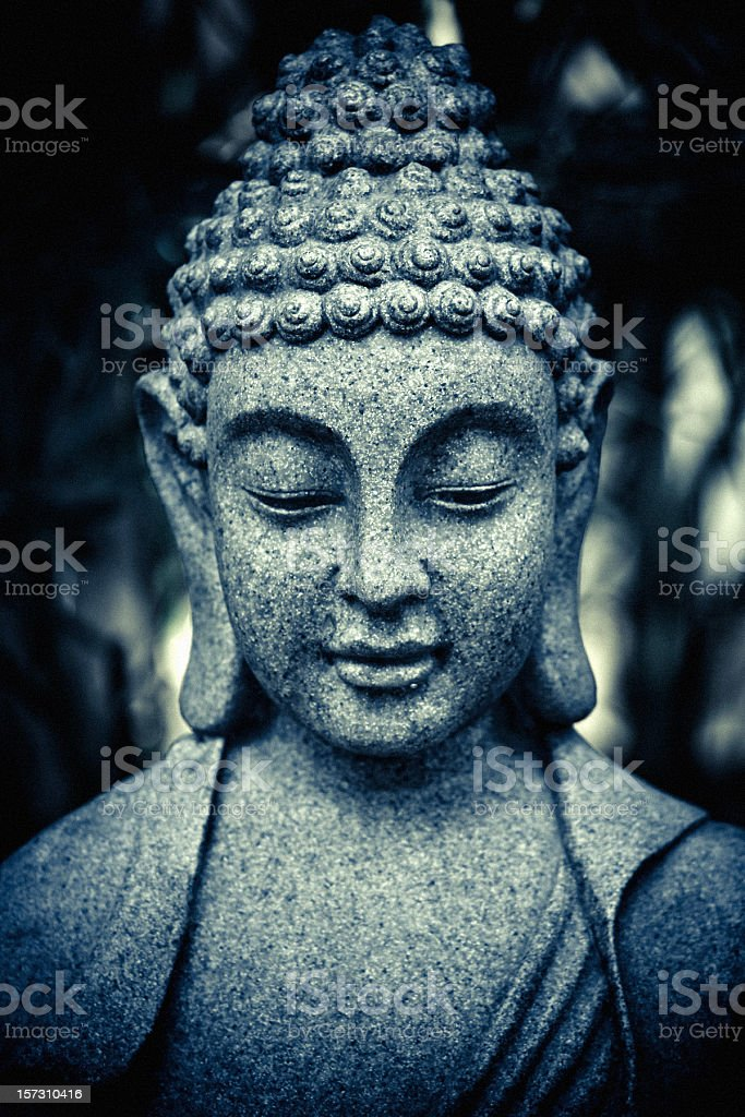 stone buddha head stock photo