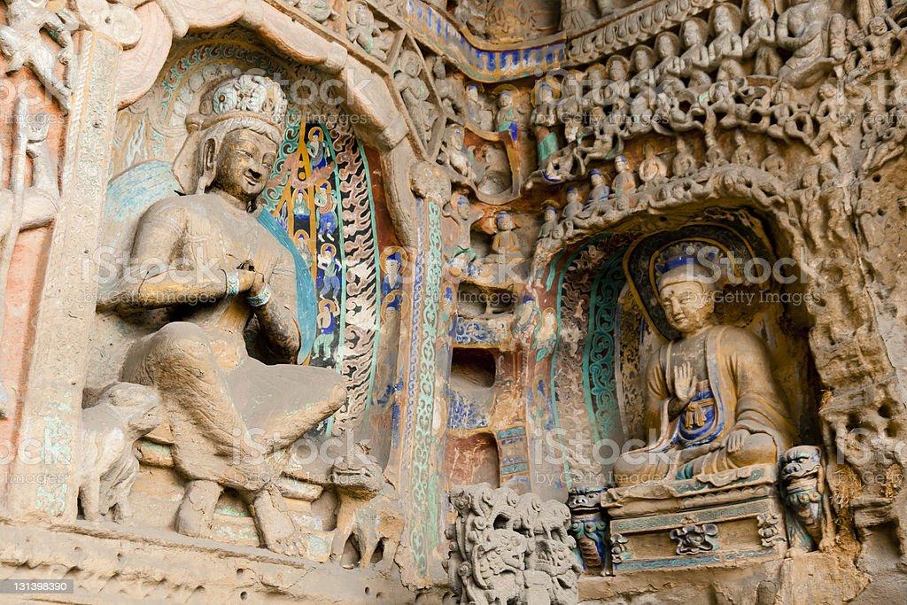 stone buddha statues stock photo