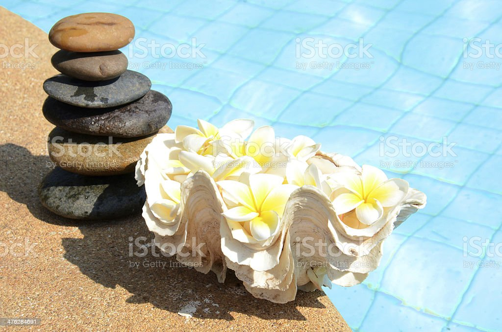 Stone building and flowers stock photo