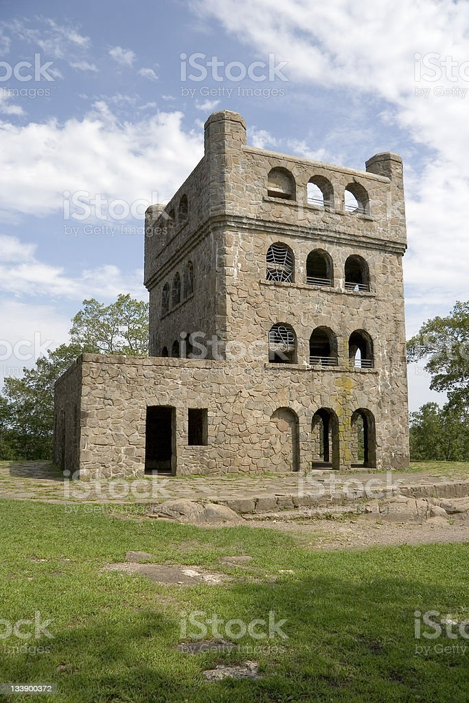 Stone Building at Sleeping Giant stock photo