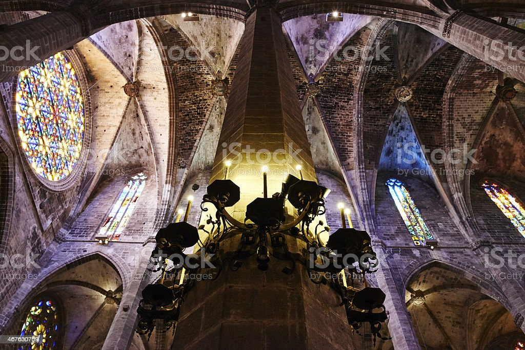 Stone built pillar and vaulted ceiling inside a cathedral royalty-free stock photo
