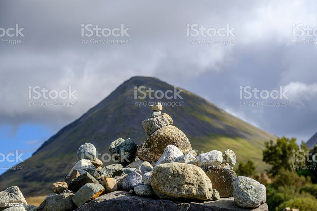 Stone cairn and Glamaig stock photo